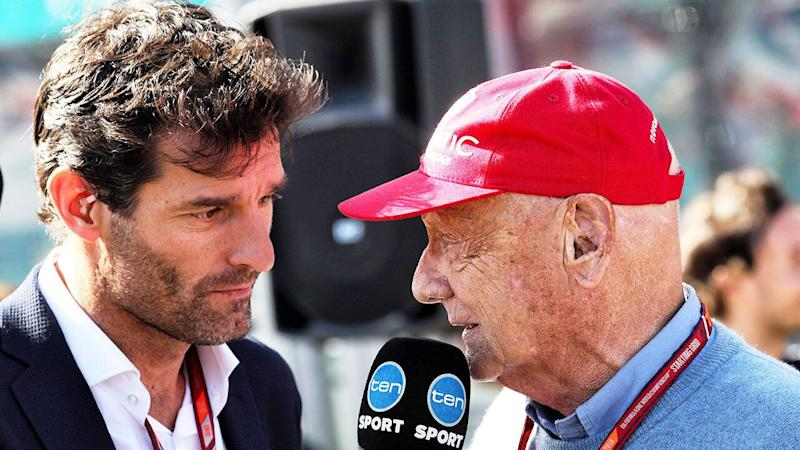 Mark Webber is seen here interviewing Niki Lauda at the Australian Grand Prix.
