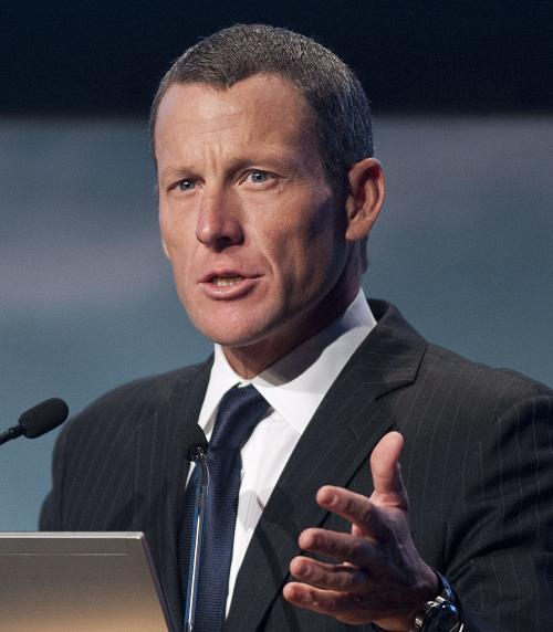 Lance Armstrong speaks to delegates at the World Cancer Congress in Montreal Wednesday, Aug. 29, 2012. (AP Photo/The Canadian Press, Graham Hughes)