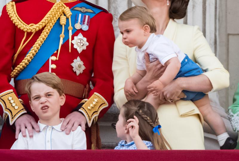 LONDON, ENGLAND - JUNE 08: Prince Louis, Prince George, Princess Charlotte and Catherine appear on the balcony during Trooping The Colour, the Queen's annual birthday parade, on June 08, 2019 in London, England. (Photo by Samir Hussein/WireImage)