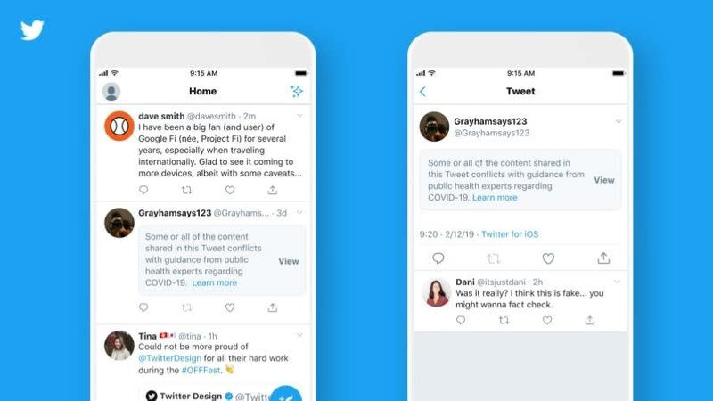 Twitter launches labels, warnings on misleading COVID-19 information