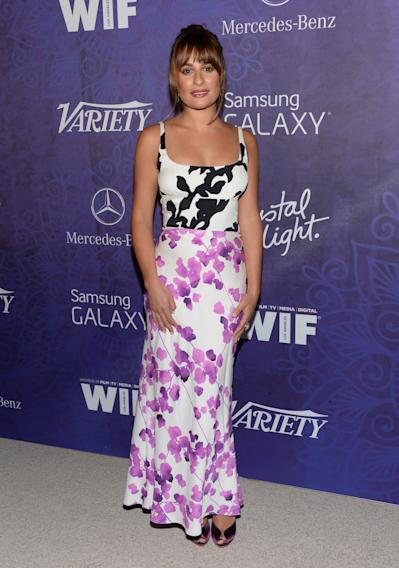 Lea Michele arrives at Variety and Women in Film's pre-Emmy celebration at Gracias Madre on Saturday, Aug. 23, 2014, in West Hollywood, Calif. (Photo by Evan Agostini/Invision/AP)