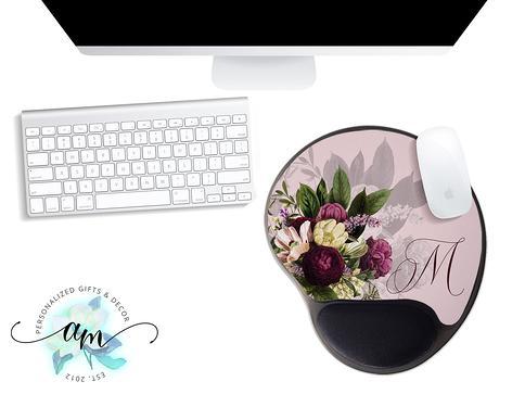 Monogram Desk Mat Office decor flowers Desk Mat Deskpad Personalized Gift Desk Deco Extended Mouse Pad coworker gift mother/'s day gift
