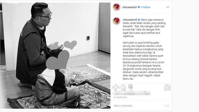 Cerita Ridwan Kamil yang menampung anak yang kedua orangtuanya tengah dirawat karena positif corona COVID-19. (dok. Instagram @ridwankamil/https://www.instagram.com/p/B-FFqnqpjUg/?hl=en/Putu Elmira)