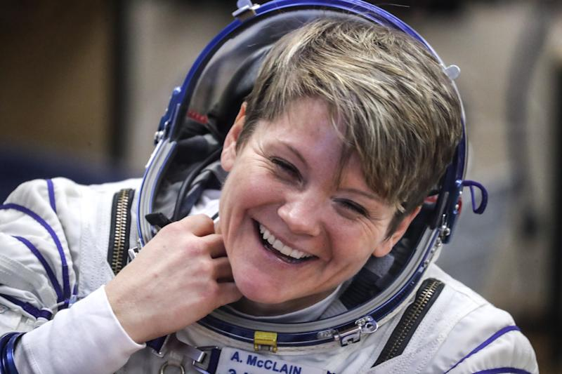 ISS Expedition 58/59 member Anne McClain during a spacesuit check before a launch of the ISS Expedition 58/59 crew to the International Space Station. She's accused of accessing ex-partner Summer Worden's bank account illegally in space.
