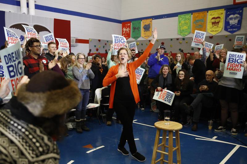 Democratic presidential candidate Sen. Elizabeth Warren, D-Mass., speaks during a campaign event, Sunday, Jan. 12, 2020, in Marshalltown, Iowa. (AP Photo/Patrick Semansky)