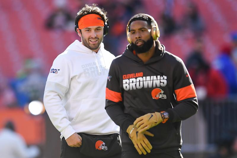 CLEVELAND, OH - OCTOBER 13, 2019: Quarterback Baker Mayfield #6 of the Cleveland Browns talks with wide receiver Odell Beckham Jr. #13 prior to a game against the Seattle Seahawks on October 13, 2019 at FirstEnergy Stadium in Cleveland, Ohio. Seattle won 32-28. (Photo by: 2019 Nick Cammett/Diamond Images via Getty Images)
