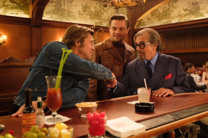 Brad Pitt and Leonardo DiCaprio in a scene at the iconic Musso & Frank Grill Hollywood's oldest restaurant featured prominently in the Once Upon a Time.