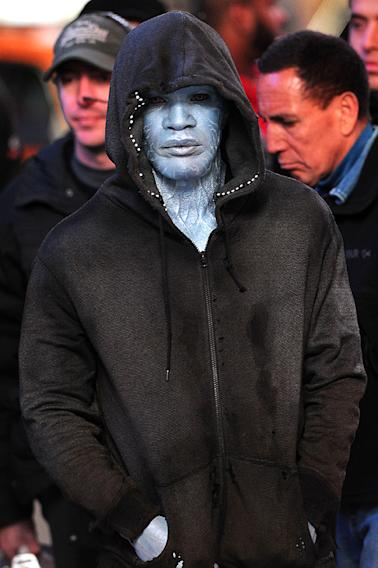 Jamie Foxx on location in Times Square for 'The Amazing Spider-Man 2'