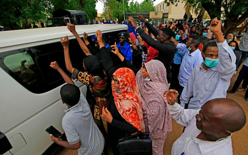 A vehicle carrying Sudan's ousted president Omar al-Bashir - ASHRAF SHAZLY/AFP via Getty Images