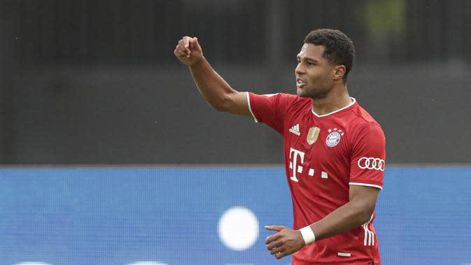 2. Serge Gnabry (Bayern Munchen) - Gnabry tampil memukau bersama Bayern Munchen di kompetisi Liga Champions musim ini. Pemain asal Jerman ini mendapatkan nilai 7.75 dari statistik penampilannya di Liga Champions 2019/2020. (AFP/Michael Sohn/pool)