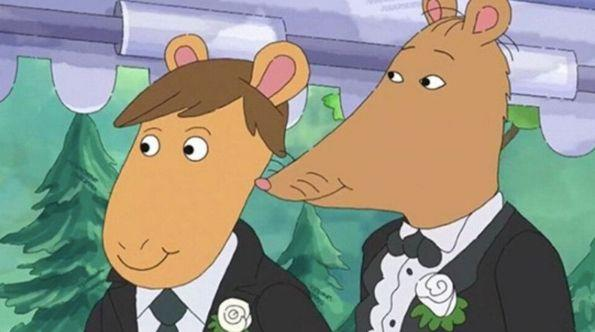 The decision to add Mr Ratburn's gay wedding, pictured, into an Arthur episode has prompted Alabama Public Television to replace it with a re-run.