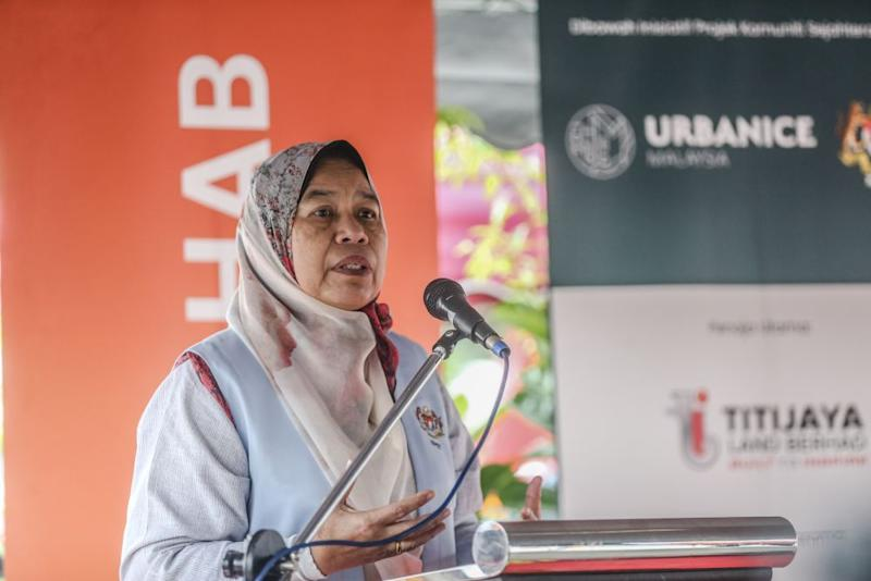 Housing and Local Government Minister Zuraida Kamaruddin speaks during the launch of Taman Dagang Community Hub in Ampang December 14, 2019. ― Picture by Firdaus Latif