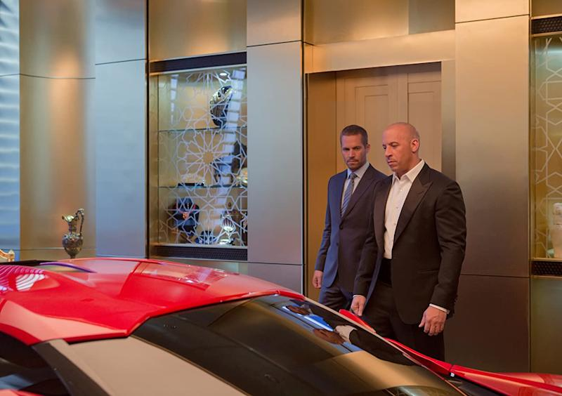 Paul Walker and Vin Diesel just ahead of taking this car for a spin in Furious 7 (Image by Universal)