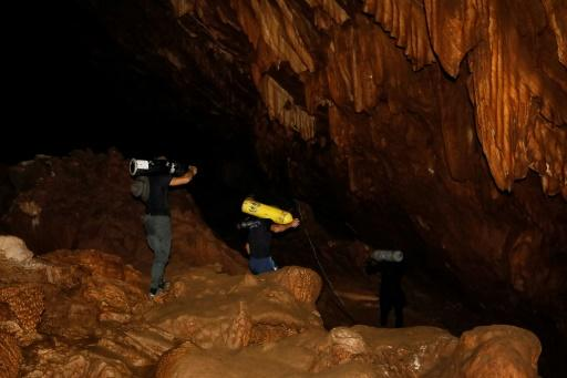Divers said they spotted footprints in one of the cave's chambers