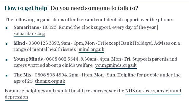 How to get help | Do you need someone to talk to?