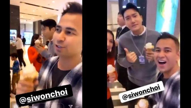 Raffi Ahmad dan Nagita Slavina bertemu Siwon Super Junior di SMTOWN COEX Artium hari ini (28/11/2019). (Sumber: Instagram/@raffinagita1717)