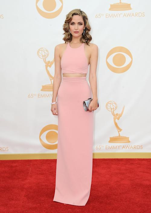Rose Byrne, wearing Calvin Klein, arrives at the 65th Primetime Emmy Awards at Nokia Theatre on Sunday Sept. 22, 2013, in Los Angeles. (Photo by Jordan Strauss/Invision/AP)