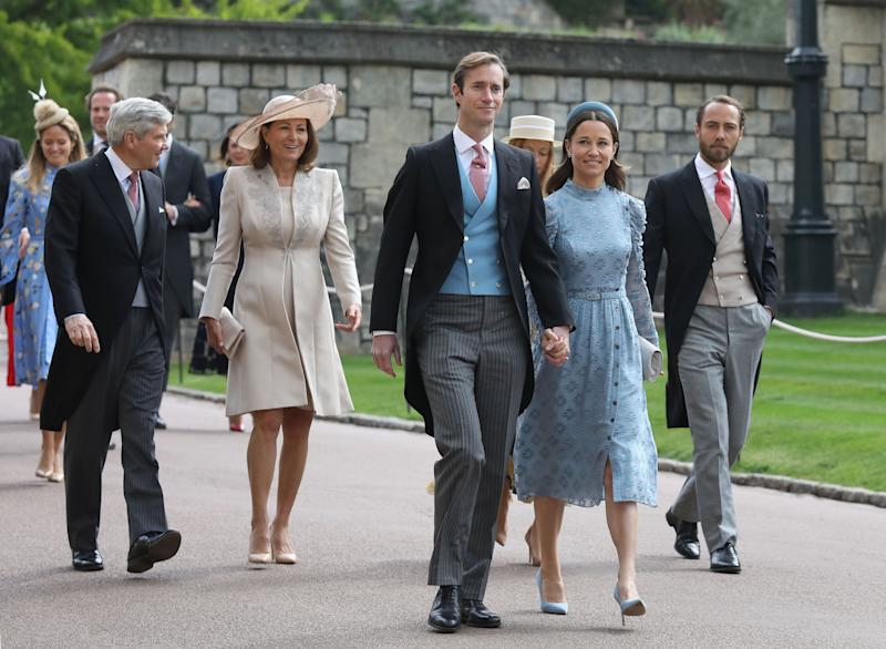 (left to right) Michael and Carole Middleton, James Matthews, Pippa Middleton and James Middleton arrive ahead of the wedding of Lady Gabriella Windsor and Thomas Kingston at St George's Chapel in Windsor Castle.