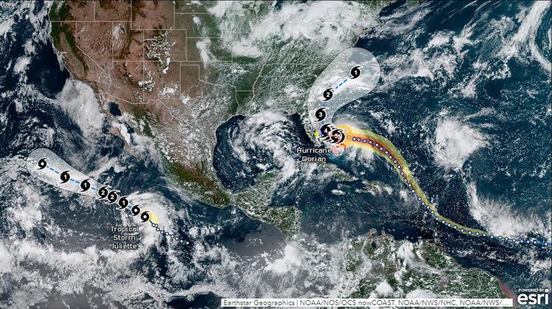 Satellite graphic depicting Hurricane Dorian slamming into the Bahamas.