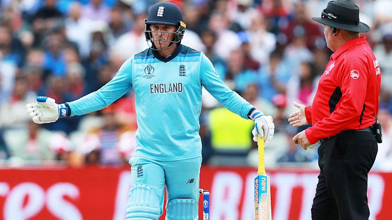 Jason Roy blew up at umpires after wrongly being given out. (Photo by David Rogers/Getty Images)