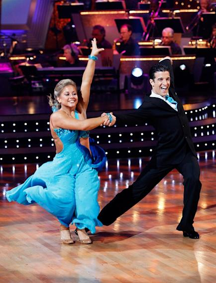 "Shawn Johnson and Mark Ballas perform the Quickstep to ""Friend Like Me"" by Robin Williams (from Aladdin) on ""Dancing with the Stars."""