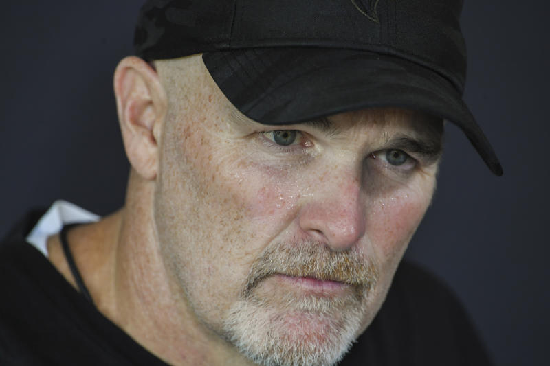Falcons coach Dan Quinn found himself under immediate fire Monday after the hiring of DJ Durkin, who was fired following the death of a football player at Maryland last year. (Reuters)