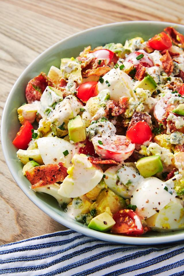 """<p>Egg salad is wonderful as is. But add bacon, blue cheese, avocado, and tomatoes, and you've got a lunch that you'll be dreaming about for days.</p><p>Get the recipe from <a href=""""https://www.delish.com/cooking/recipe-ideas/a19484613/cobb-egg-salad-recipe/"""" target=""""_blank"""">Delish</a>.</p>"""