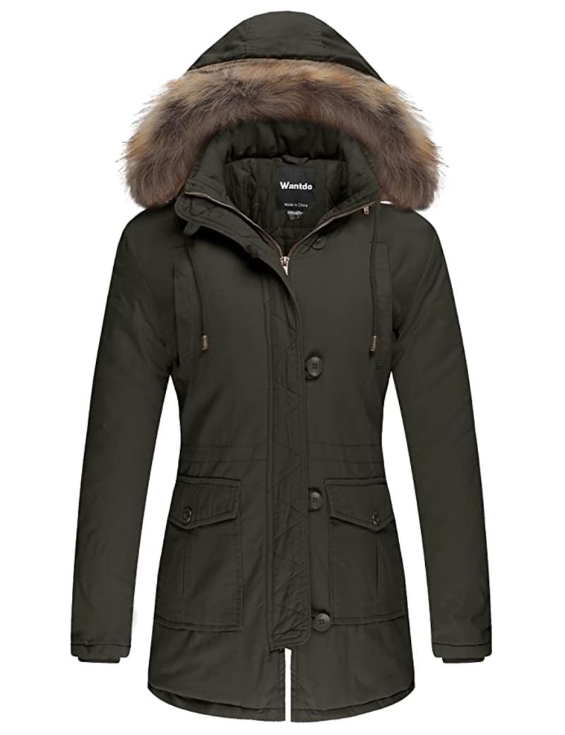 Wantdo Women's Winter Jacket Faux Fur Trim Parka Coat. Image via Amazon.