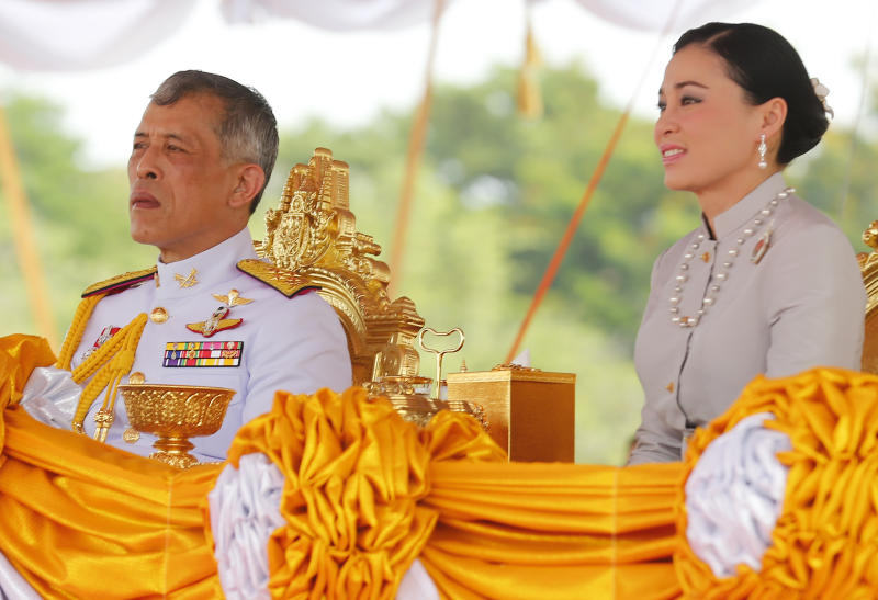 BANGKOK, THAILAND - 2019/05/09: Thailand's King Maha Vajiralongkorn Bodindradebayavarangkun (Rama X) and Queen Suthida watches the annual Royal Ploughing Ceremony in Sanam Luang. The annual royal ploughing ceremony is an ancient rite which officially marks the beginning of the main rice cultivation season in Thailand. (Photo by Chaiwat Subprasom/SOPA Images/LightRocket via Getty Images)