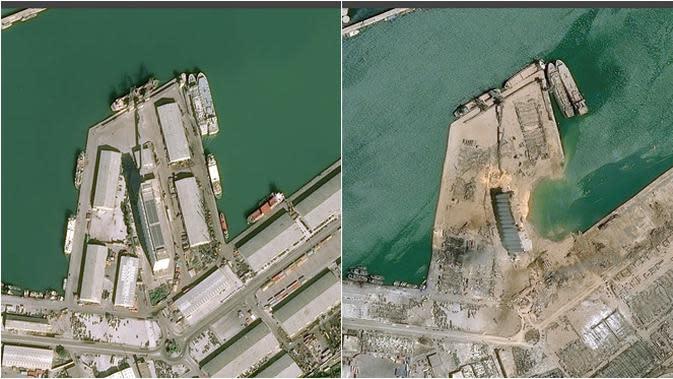 5 Foto Satelit Tunjukkan Kondisi Beirut Sebelum dan Sesudah Ledakan, Efeknya Dahsyat