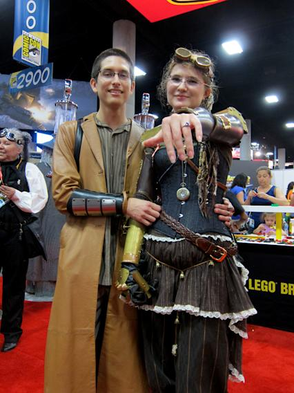 This steampunk couple just got engaged in the exhibit hall! - San Diego Comic-Con 2012