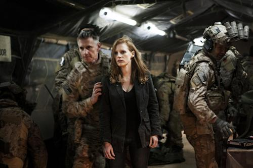 "In this undated publicity photo released by Columbia Pictures Industries, Inc., Jessica Chastain, center, plays a member of the elite team of spies and military operatives, stationed in a covert base overseas, with Christopher Stanley, left, and Alex Corbet Burcher, right, who secretly devote themselves to finding Osama Bin Laden in Columbia Pictures' new thriller, ""Zero Dark Thirty."" Best-picture prospects for Oscar Nominations on Thursday, Jan. 10, 2013, include, ""Lincoln,"" directed by Steven Spielberg; ""Zero Dark Thirty,"" directed by Kathryn Bigelow; ""Les Miserables,"" directed by Tom Hooper; ""Argo,"" directed by Ben Affleck; ""Django Unchained,"" directed by Quentin Tarantino; and ""Life of Pi,"" directed by Ang Lee. (AP Photo/Columbia Pictures Industries, Inc., Jonathan Olley)"