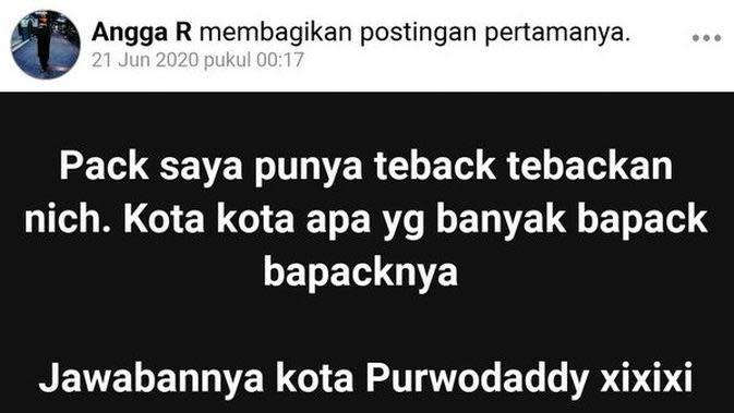 Status Facebook Tebak-Tebakan ala Bapak-Bapak (Sumber:Facebook/Angga R)