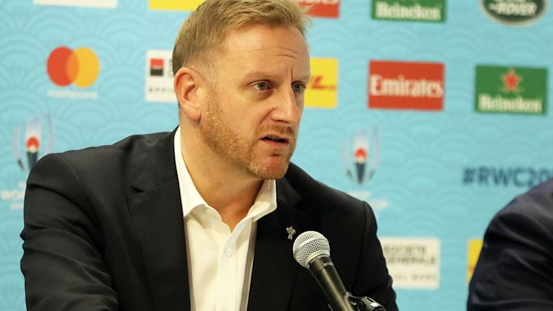 Alan Gilpin, pictured here informing the media of the cancellations at the Rugby World Cup.