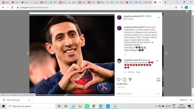 Pemain Paris Saint Germain (PSG), Angel Di Maria (Instagram)