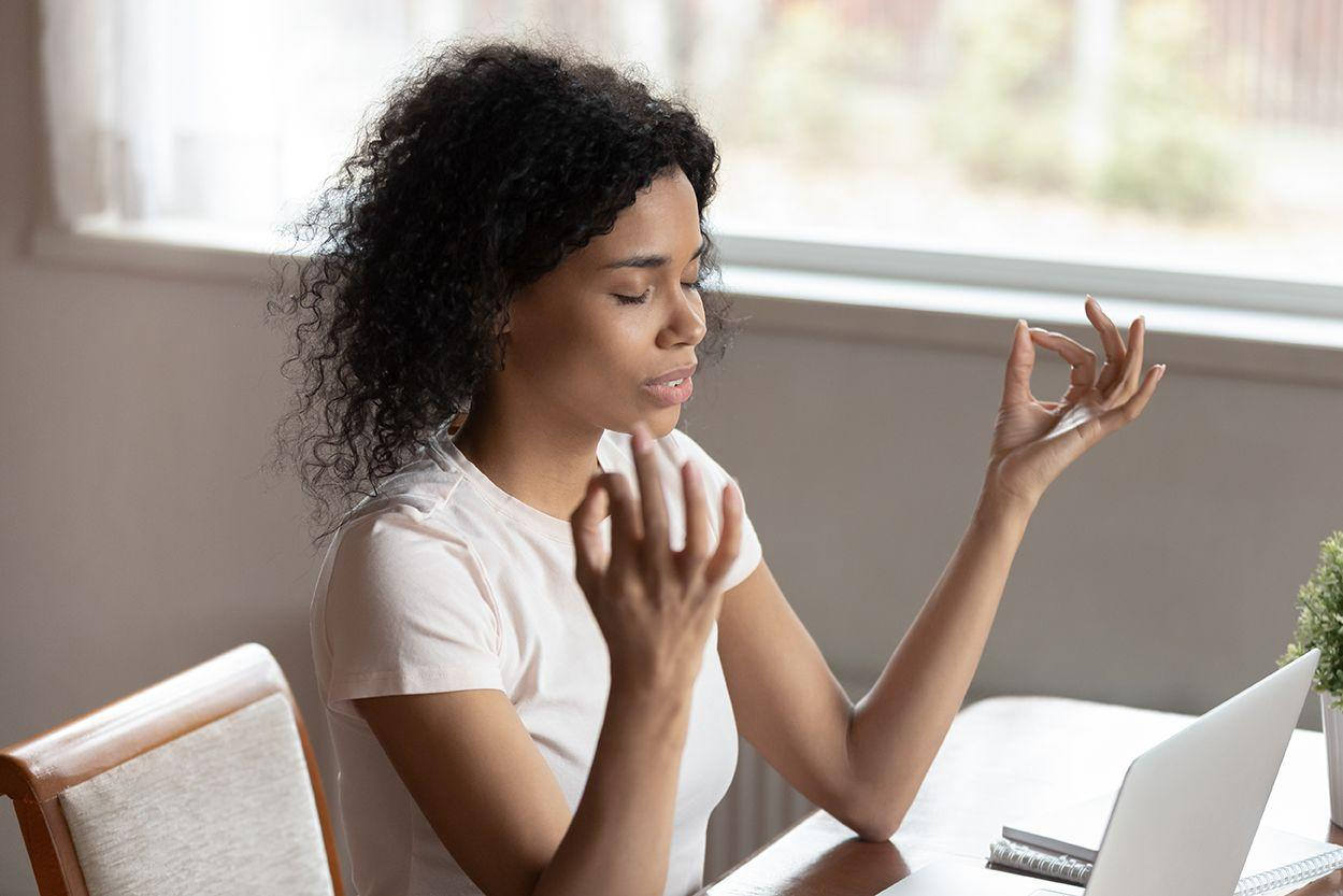 """<p>Before you open up your laptop and begin your usual grind, take a few moments to center yourself.</p><p>""""Setting aside a little time in the morning to set intentions helps you start the day with a clear mind,"""" says Shirin Eskandani, mindset coach and founder of <a href=""""https://www.wholehearted-coaching.com/"""" target=""""_blank"""">Wholehearted Coaching</a>. """"This can include journaling, movement, reading, or meditation. Be flexible and do what feels best.""""</p><p>For specific examples, you can start with yoga and notice what your body needs in that moment, or read an uplifting book to set a positive tone for the day.</p><p>If you find that you are more of an night owl than an early bird, forming your own morning practice can feel difficult. In that case, find time in the afternoon or the evening to settle your mind. All you need is 10 minutes, says Eskandani.</p><p><strong>RELATED</strong>: <a href=""""https://www.goodhousekeeping.com/health-products/g26950282/best-yoga-apps/"""" target=""""_blank"""">7 Best Yoga Apps You Can Use Anytime and Anywhere</a></p>"""