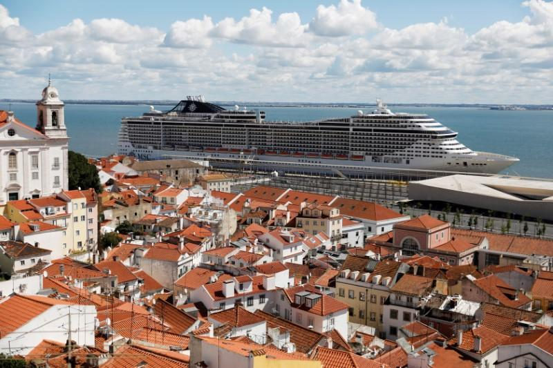 A view of the docked MSC Fantasia cruise ship in Lisbon