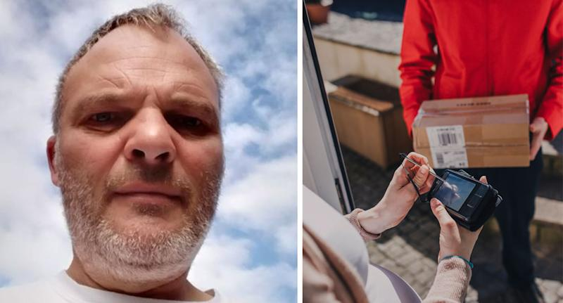 Robert Lockyer (pictured left), from Kent in England, was dismissed after delivering a parcel one minute late. On the right is a stock image of a postie holding a parcel as a recipient signs their name for the package.