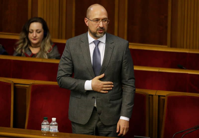 Newly appointed Prime Minister of Ukraine Denys Shmygal attends a parliamentary session in Kiev