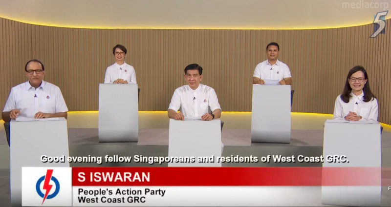 PAP West Coast GRC GE2020 candidates speaking in a constituency political broadcast on 8 July 2020. (SCREENSHOT: Mediacorp/YouTube)