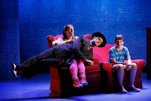 """In this photo released by Sam Rudy Media Relations are, from left, Julia Murney, David Hyde Pierce and Frankie Seratch in a scene from """"The Landing,"""" a new musical by John Kander and Greg Pierce currently performing at the Vineyard Theatre in New York. (AP Photo/Sam Rudy Media Relations, Carol Rosegg)"""