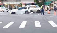 快新聞/派出所前撞車!台中遊覽車撞2機車1轎車