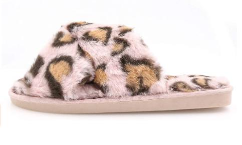 Topgalaxy.Z Fuzzy Slippers in pink leopard