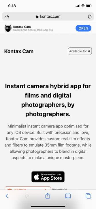 iOS 14 app clips Kontax Cam