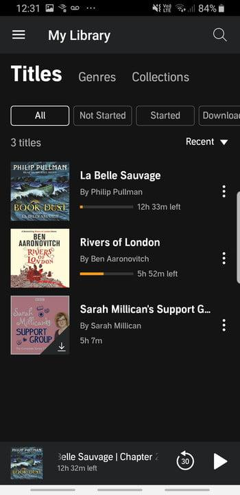 Screenshot of Audible app library