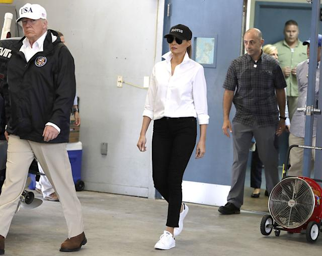 President Trump and first lady Melania Trump arrive to take part in a briefing on Hurricane Harvey relief efforts at Firehouse 5 in Corpus Christi, Texas, on Aug. 29, 2017. (Photo: AP/REX/Shutterstock)
