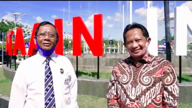Mahfud Md dan Tito Karnavian ucapkan selamat ulang tahun untuk Presiden Jokowi dari perbatasan RI-Timor Leste. (Istimewa)