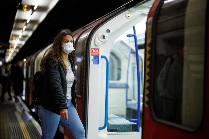 Woman using transit