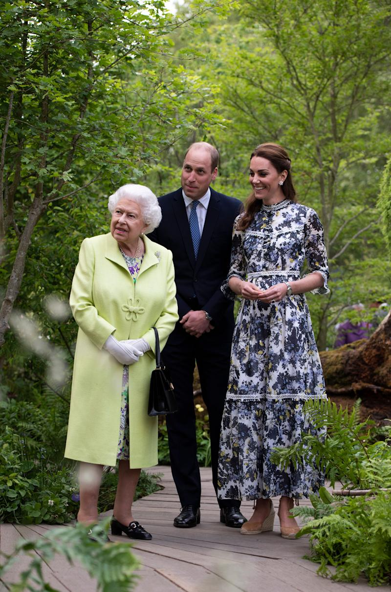 Queen Elizabeth II is shwon around 'Back to Nature' by Prince William and Catherine, Duchess of Cambridge at the RHS Chelsea Flower Show 2019 press day at Chelsea Flower Show on May 20, 2019 in London, England. (Photo by Geoff Pugh - WPA Pool/Getty Images)