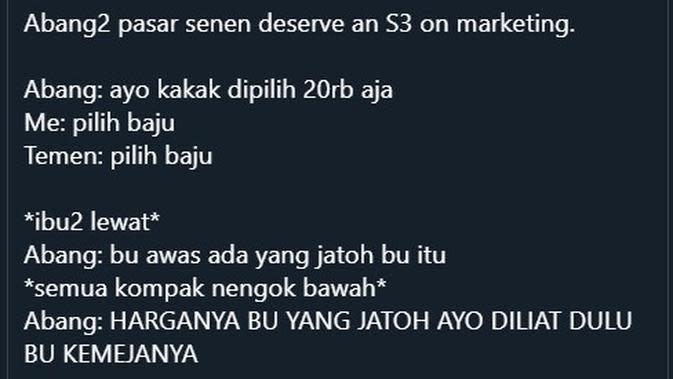 Cuitan Percakapan Imajinasi Penjual dan Pembeli di Pasar (Sumber: Twitter/rambakgirl)
